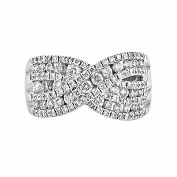 1.26ct Round Diamonds in 14K White Gold Criss Cross Overlapping Ring