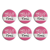 Toni Hello My Name Is Plastic Resin Button Set of 6