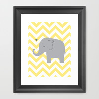 Baby Elephant Framed Art Print by Janelle Krupa