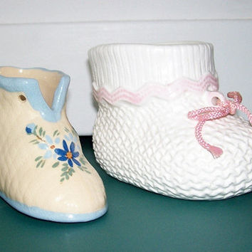 Baby Bootie Planters Vintage Ceramic Lefton and Regal
