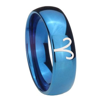 8MM Glossy Blue Dome Aries Zodiac Tungsten Carbide Laser Engraved Ring