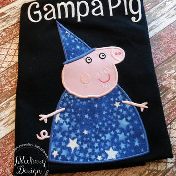 Peppa Pig Family Wizard Grandpa Pig Birthday Custom Tee Shirt - Customizable -   Adults