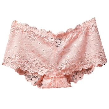 Boy Shorts in Lace! Pink Low Rise Panty