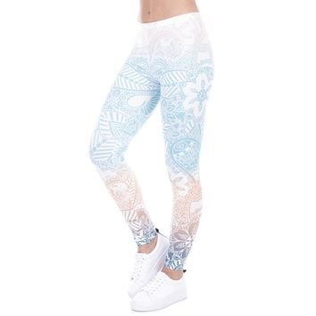 Psychedelic Flowers Print Fitness Leggings