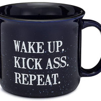Wake Up. Kick Ass. Repeat. Outlaw Soaps Mug