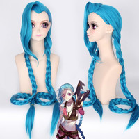 Vogue Lake Blue Extra Long Double Braided League of Legends Jinx Anime Cosplay Wig