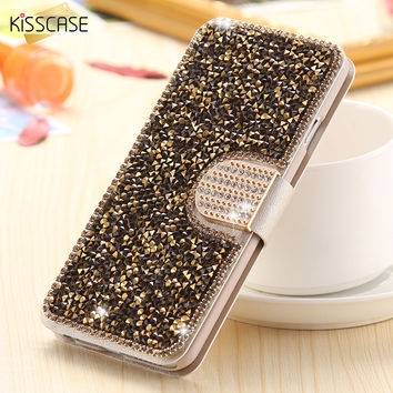 KISSCASE i6 Pink Bling Wallet Case For iPhone 6 6S Fashion Card Slot Full Crystal Cover For iPhone 6 4.7 6S Diamond Buckle Bag
