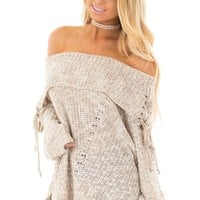 Taupe Off the Shoulder Sweater with Lace Up Details