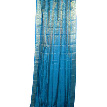 Mogul India Sari Curtains Blue Brocade Silk Saree Drapes Window Treatment, Indian Style Decor