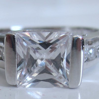 1.32ct Princess Cut Diamond Engagement Ring 18kt White Gold JEWELFORME BLUE