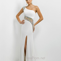 One Shoulder Beaded Accent Front Split Jersey Blush Prom Dress 9780