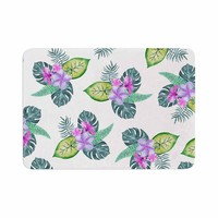 "Sylvia Cook ""Tropical Flowers"" Green Pink Floral Nature Watercolor Digital Memory Foam Bath Mat"