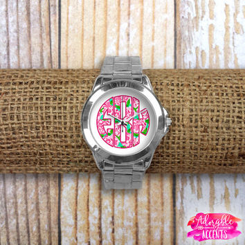Monogrammed Lilly Pulitzer Inspired Watch - First Impression {Reverse/Applique Style}