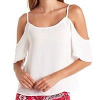 Sheer Chiffon Cold Shoulder Top by Charlotte Russe