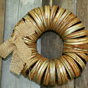 Wreath From Canning Jar Lid Rings - Repurposed, Farmhouse Style, Rustic, Junk Style, Home Decor