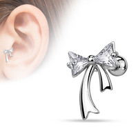 Triangle CZ Bow 316L Surgical Steel Cartilage 16ga Tragus Bar Ear Jewelry Helix Piering