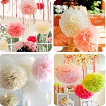 10pcs/lot 15cm Tissue Paper Pom Poms Wedding Party Decor Craft Paper Flowers For Wedding Decoration home decoration [7982979591]