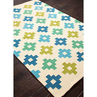 Jaipur Tile Work Indoor/Outdoor Rug in Blue/Green