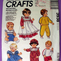 Baby Doll Clothes Dress, Pinafore, Overalls and More McCall's Crafts 3938 Sewing Pattern Uncut