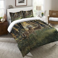 Deer in Autumn Light Duvet Cover