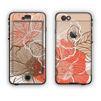 The Brown and Orange Transparent Flowers Apple iPhone 6 LifeProof Nuud Case Skin Set