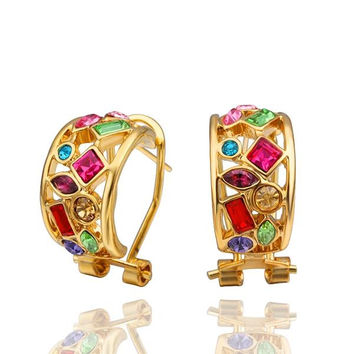18K Gold Rainbow Crystals 1/2 Hoop Earrings Made with Swarovksi Elements