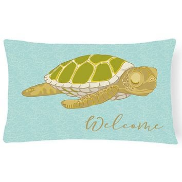 Sea Turtle Welcome Canvas Fabric Decorative Pillow BB8562PW1216
