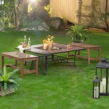 3 Piece Natural Wood Burning Backless Benches Fire Pit Table Set