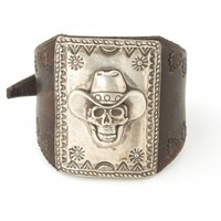 Belt Buckles, Jewelry & Gifts | John Rippel USA | Cowboy Skull Sterling and Leather Cuff