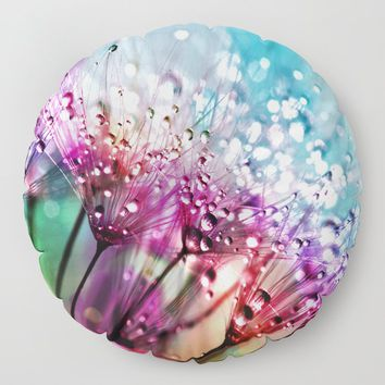 Dewdrops & Rainbows Floor Pillow by inspiredimages