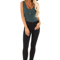 Dark Teal Sleeveless Ribbed Bodysuit