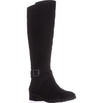 DKNY Mattie Wide Calf Quilted Riding Boots, Black, 9.5 US / 40.5 EU