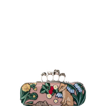 Alexander McQueen Woodland Fox Embroidered Knuckle Box Clutch Bag