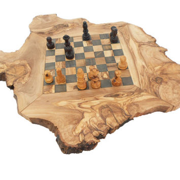 Father's Day Gift, Olive Wood Rustic Chess Set, personalized Natural edge chess board, Dad gift, Gift for Him, Father's Day Gift