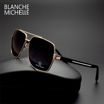 High quality Square Sunglasses Men Polarized UV400 Fashion Coating Mirror Sport sun glasses Oversized Driving Gold frame oculos