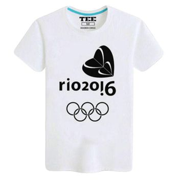 Rio 2016 Olympic Games Round Neck Tee -XL Black And White-A443