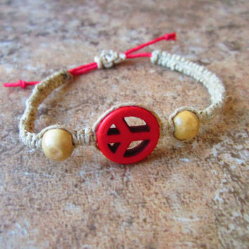 Peace Hemp Bracelet Adjustable Jewelry Macrame Square Knot