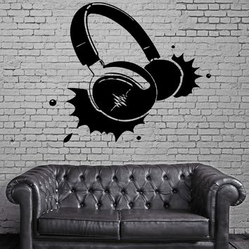 Headphones Music Rock Pop Song Singer Decor Living Room Wall Decal  Unique Gift (z2725)