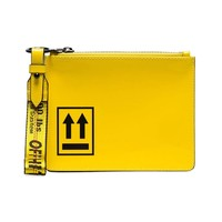 Yellow and Black Arrow Leather Pouch by OFF-WHITE