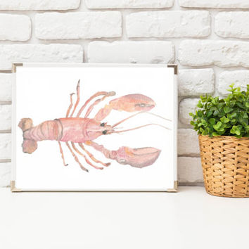 Sealife Prints ~ Lobster Print of Watercolor Painting ~ Kitchen Wall Art Gift for Women, Dining Room Art Unique Husband Gift for Wife Sister