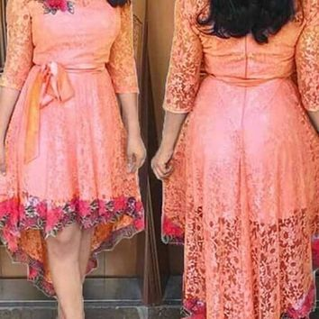 Pink Pleated Embroidery Lace Sashes High-Low Tutu Sweet Homecoming Party Midi Dress