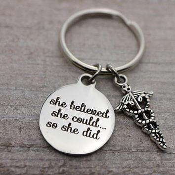 She believed she could... so she did insignia silver key ring