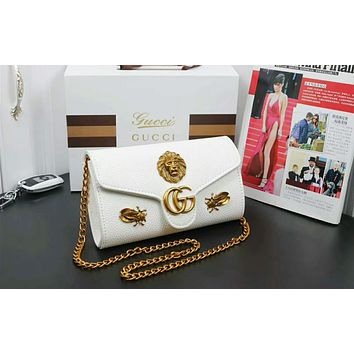 Gucci Fashion Women Leather Metal Insects Shoulder Bag Crossbody Satchel White I-OM-NBPF
