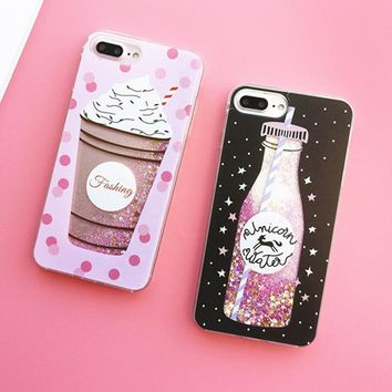 Liquid Moving Stars Glitter Floating Quicksand Case For coque iPhone 6 S 6s 7 8 Plus Bling Sequin Icecream Bottle Phone Cover
