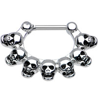 "16 Gauge 5/16"" Macabre Skulls Septum Clicker 