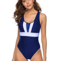 Summer New Fashion Contrast Color Straps One Piece Bikini Swimsuit Blue
