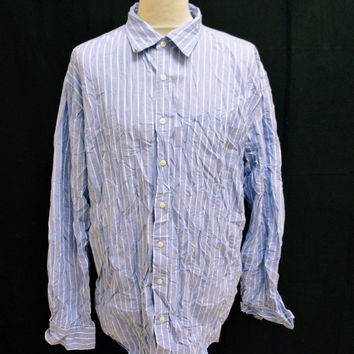 Retro THE GAP Blue White Classic Oxford Stripe Designer Shirt 2XL