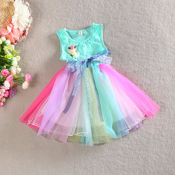 Toddler Kids Girls Rainbow Dress Princess One Piece Gauze Dress Tutu Dress 1-5T PY1 SM6