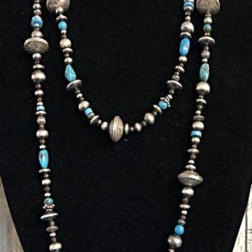 Vicki Orr Southwestern Long Navajo Beads, Turquoise, & Pyrite Necklace
