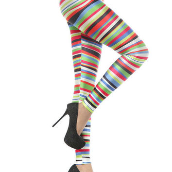 Sale-80s 90s Pencil tights- Printed leggings- Christmas-colorful-Rainbow